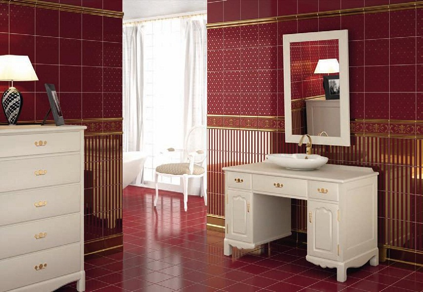 Badezimmer rot grau